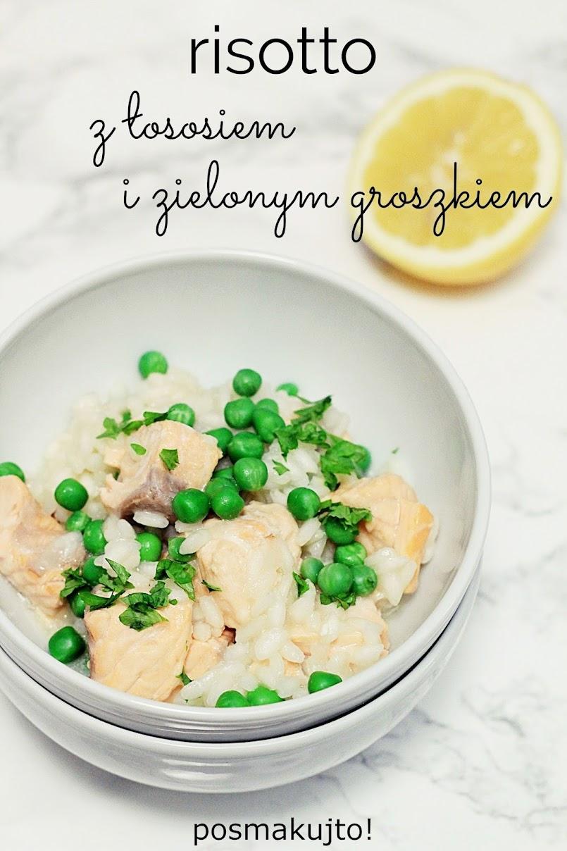 Risotto z łososiem i zielonym groszkiem