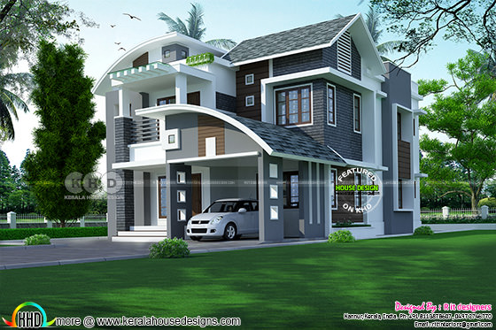 2410 square feet 4 bedroom mixed roof modern house