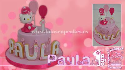 tarta personalizada fondant modelado galletas mantequilla fondant hello kitty Laia's Cupcakes Puerto Sagunto