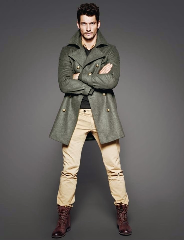 Abrigo verde hombre combinar