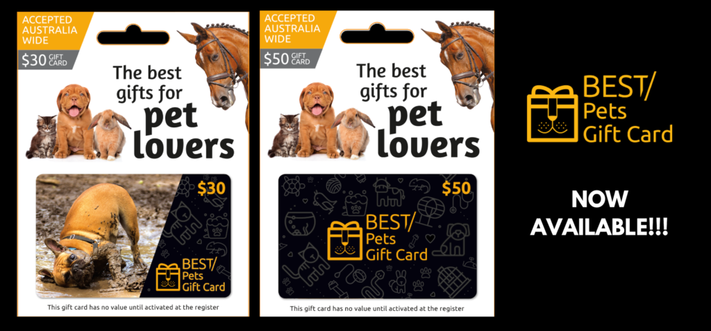 Best Pets Gift Cards for Australian pet lovers, showing $30 and $50 options