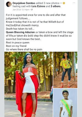 Photos: 23-year-old Nigerian beauty queen killed in ghastly motor accident