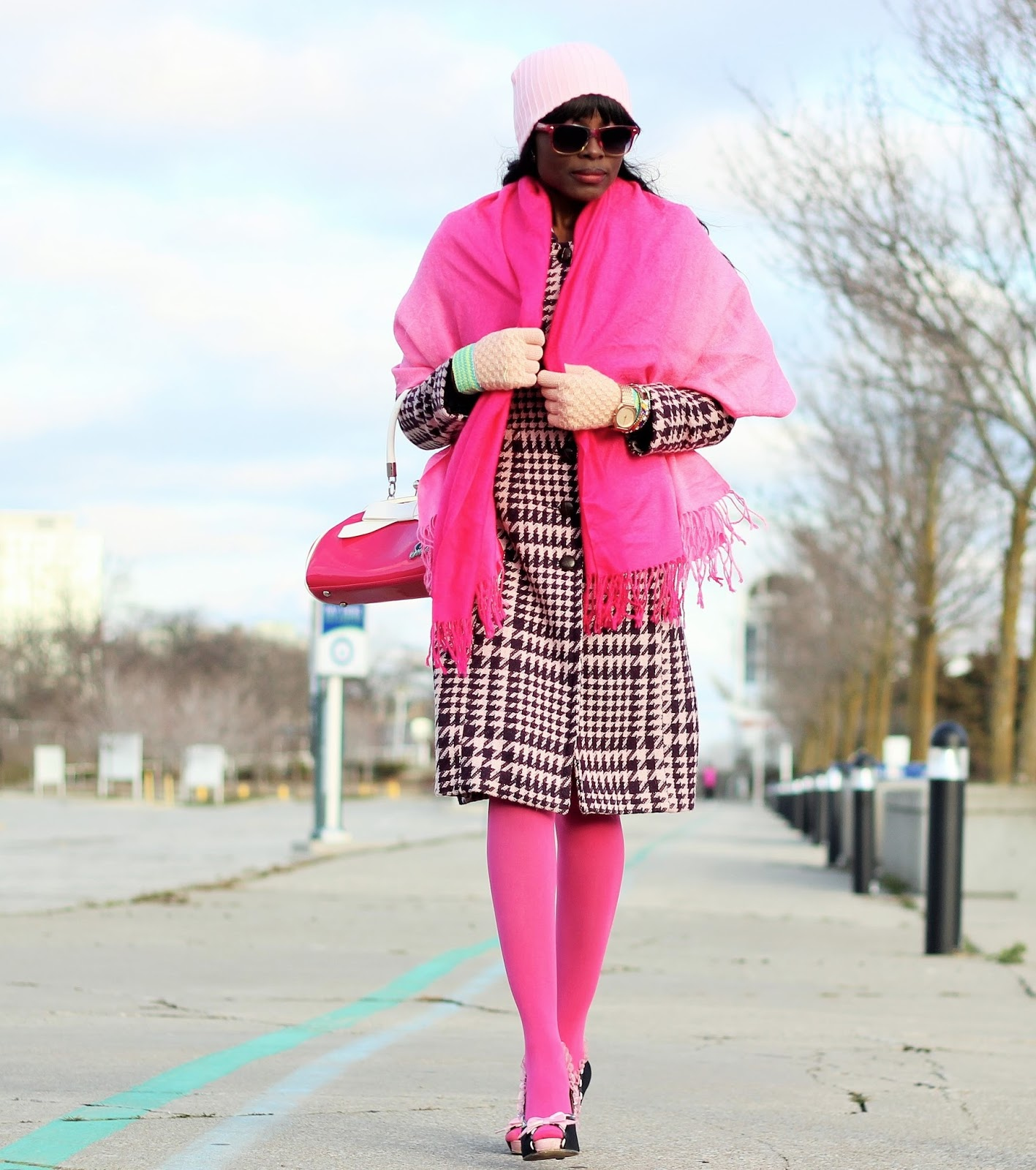 Slow Watch Styled with Costa Blanca Coat Unique Vintage Pink Bag and Heels