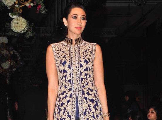 Karisma Kapoor in Blue Palazzo Pants with Long Jacket at Lakme Fashion Week