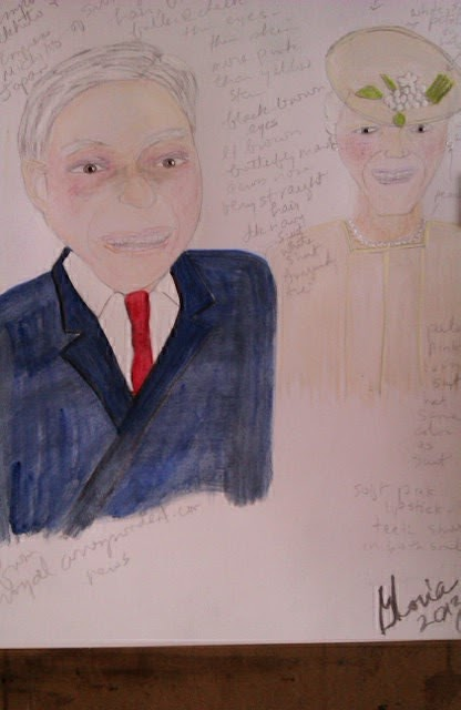 Emperor and Empress of Japan sketch by Gloria Poole of Missouri; watercolors