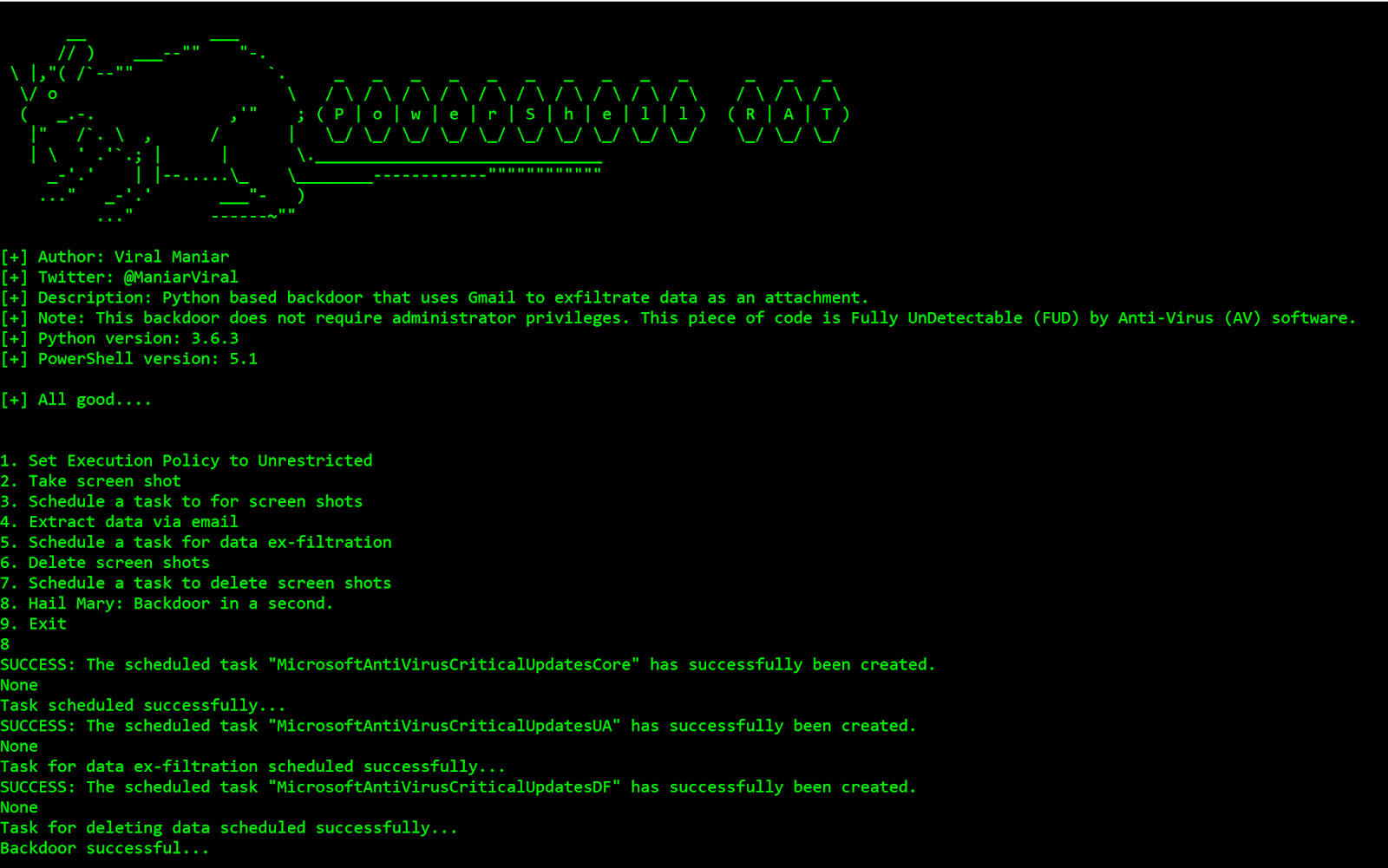 Powershell-RAT - Python Based Backdoor That Uses Gmail To Exfiltrate