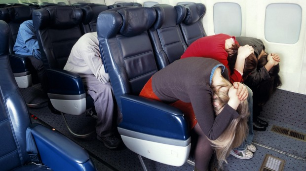 plane, aeroplane, brace position, conspiracy theory