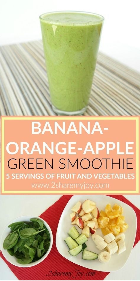 Green Smoothie Recipe With Banana-Orange-Apple