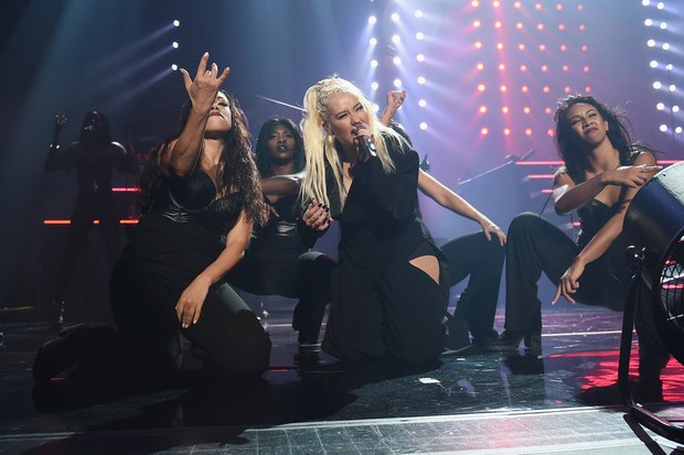 Christina Aguilera performing live in 2018