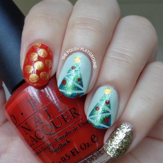 Festive Holiday Mix and Match Nail Art