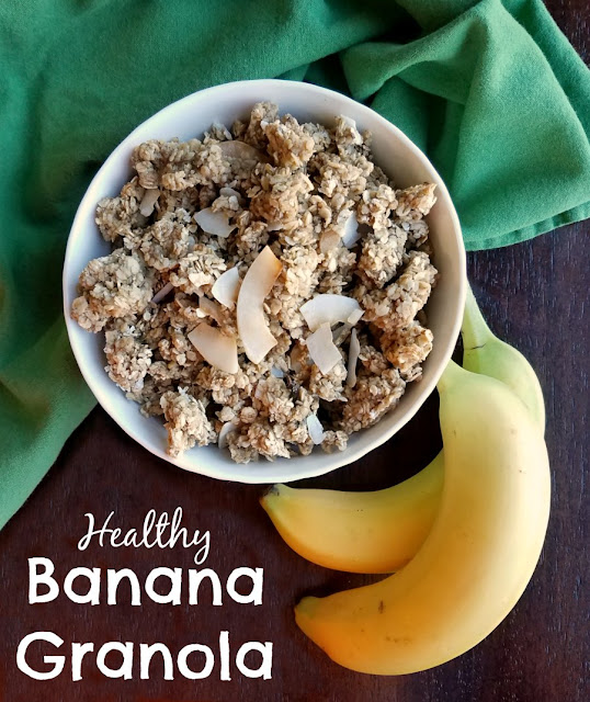 This healthy and delicious banana granola is the perfect topping for yogurt or is great in bowl with milk.