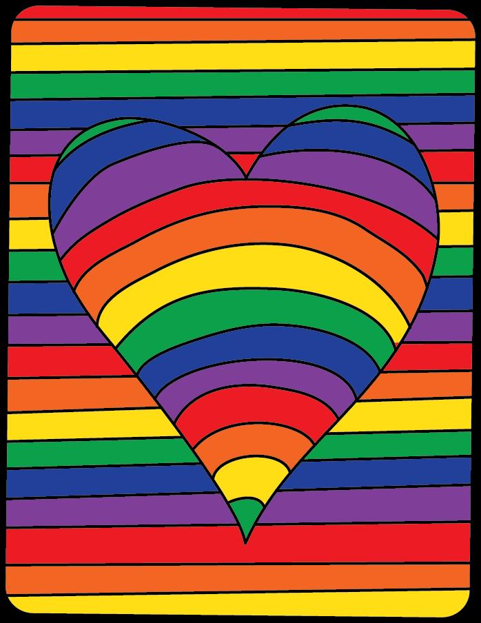 Op Art Hearts Color Study Expressive Monkey