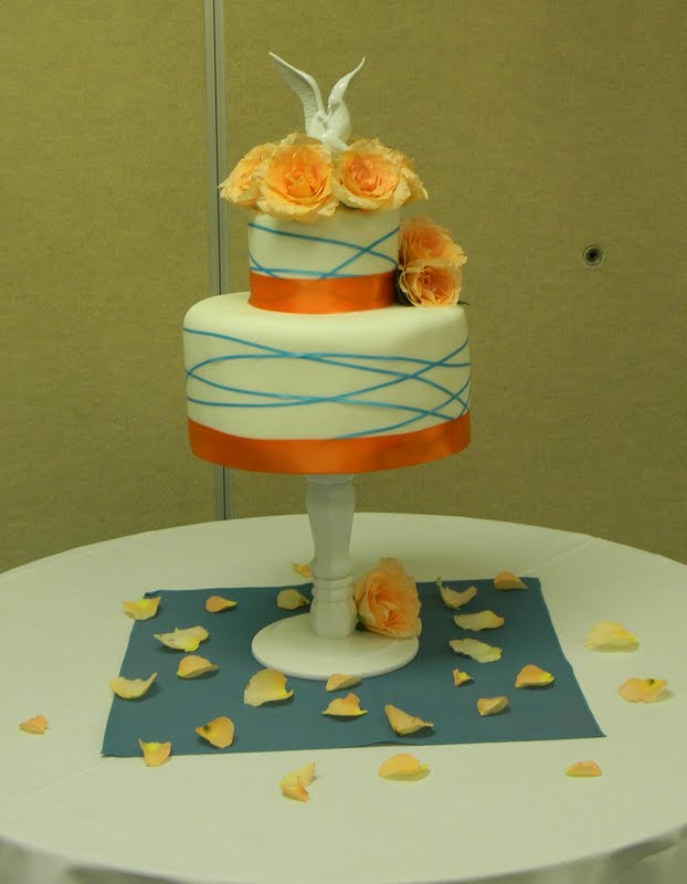 Teal And Orange Wedding Cake