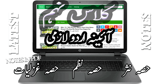 Free Download 9th / IX / SSC Part-I Class Ayeena-e-Urdu Lazmi Notes All Chapters حصہ نثر، نظم، غزلیات