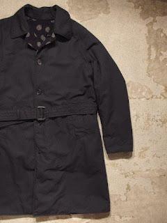 "FWK by Engineered Garments ""Reversible Coat / Polka Dot Jacquard in Dk.Navy Ripstop"""