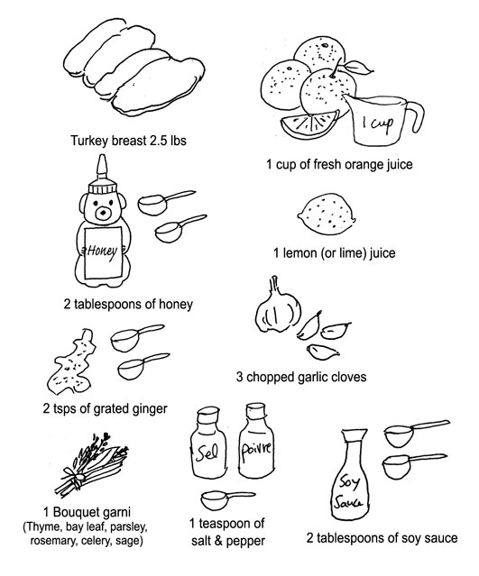 Marinate Turkey ingredients by Yukié Matsushita