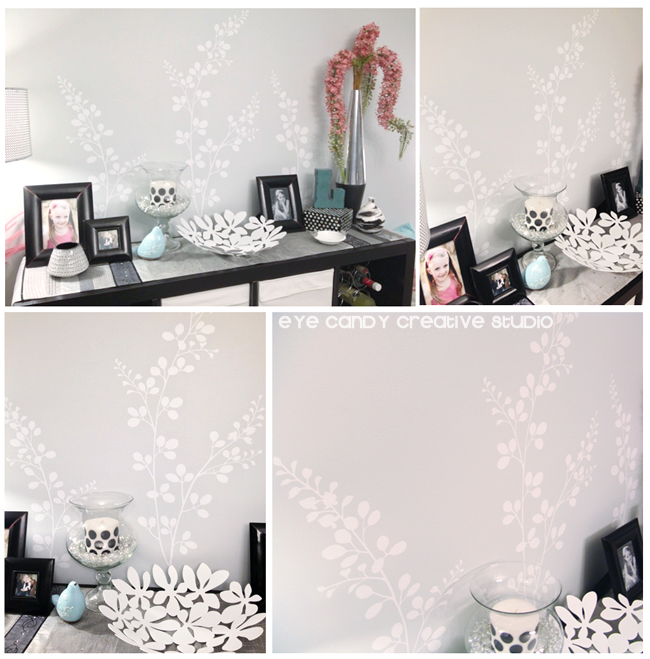 after shots of vinyl on dining room wall, floral design by wallternatives