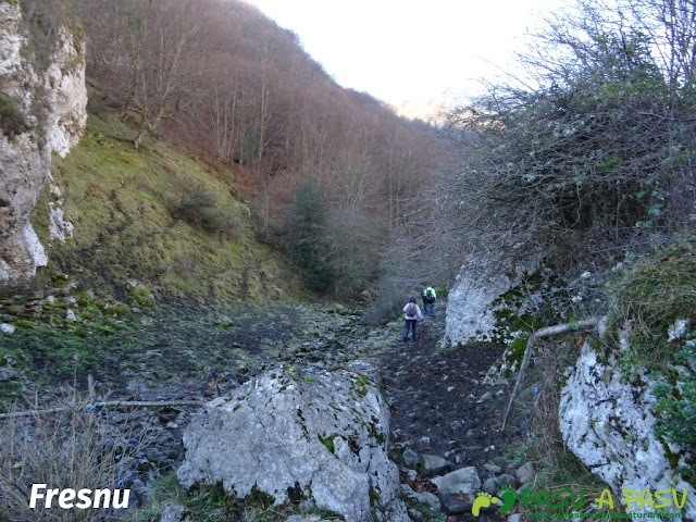 Atravesando el Fresnu después de la Foz de la Escalada
