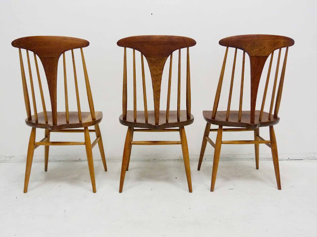 Heywood Wakefield Dowel High Back Mid-Century Doeskin Dining Chairs Set 1 Back