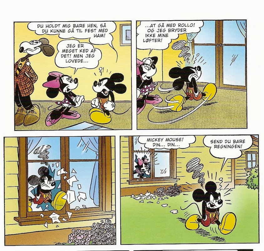 Mickey Mouse går gennem en af Minnies ruder af jalousi