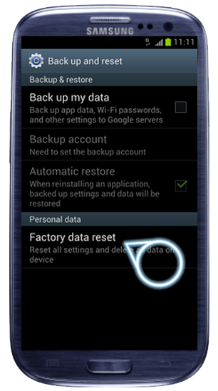 Sentuh Factory data reset