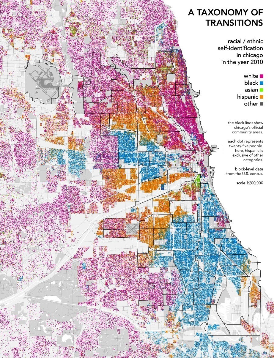 de facto residential segregation has sprung up in its wake the above map of chicago s white black asian and latino populations visualizes just how