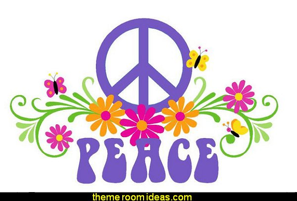 PEACE and Flowers, LG Wall Mural, Paint by Numbers  Groovy Funky Retro Bedrooms - 60s style theme decorating -  70s theme decorating - 70's Theme Decor - Funky Flower Power Bedrooms -  70s theme bedroom decorating - Psychedelic  Tie Dye Hippie Hippy style flower power era - Retro groovy peace sign decor - hippie decor - Retro 60s Groovy 70s  Psychedelic hippie Costumes