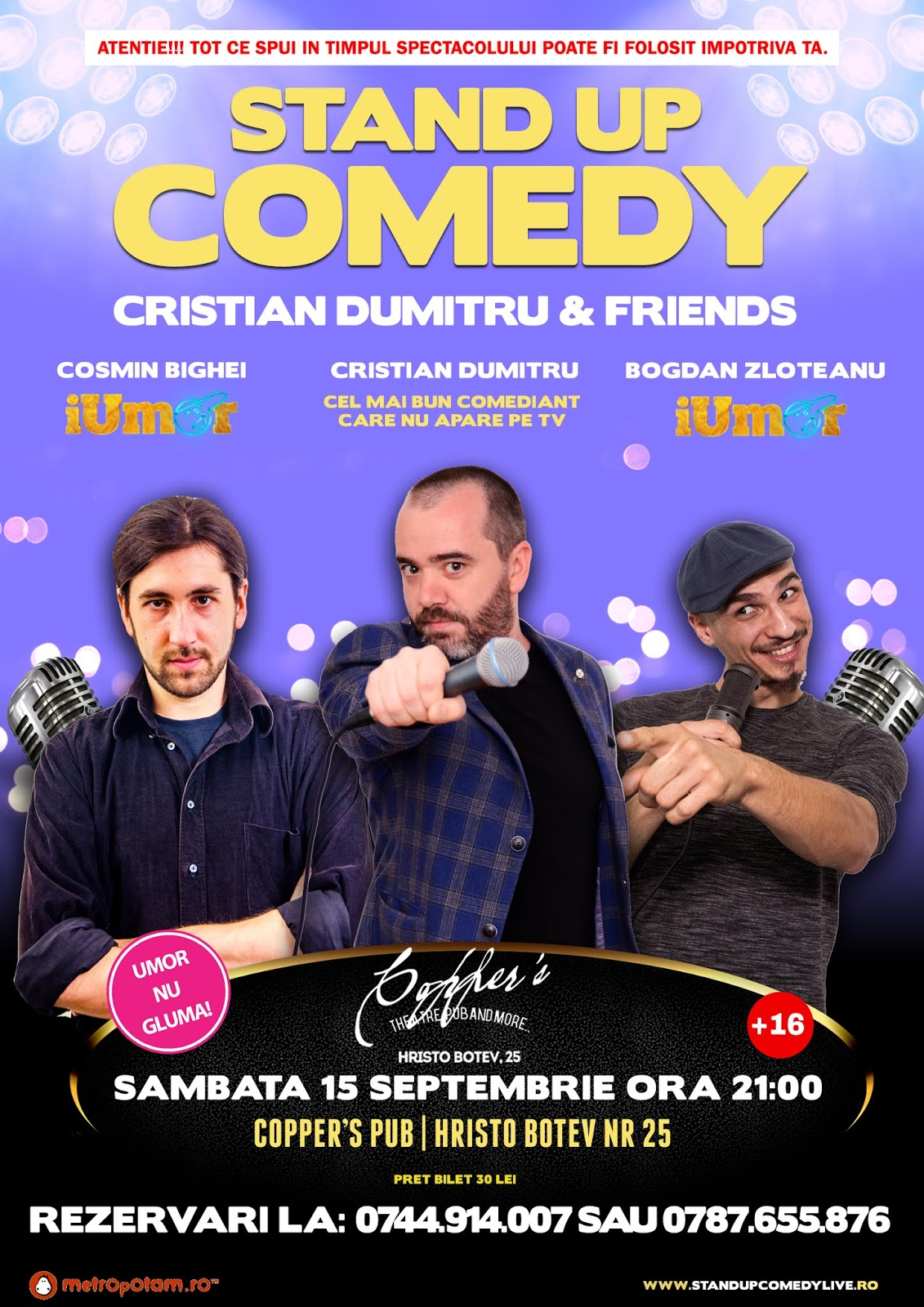 Stand-Up Comedy Bucuresti Sambata 15 Sept.