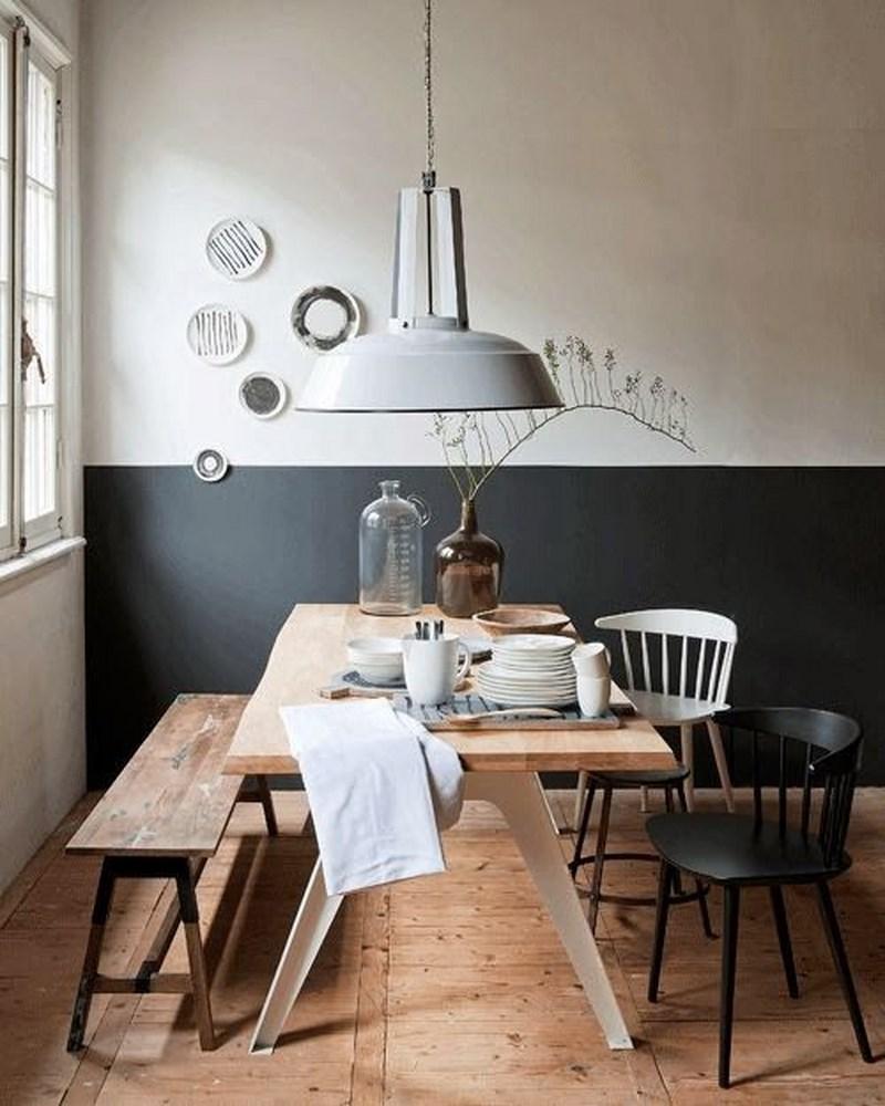 half black wall dining room