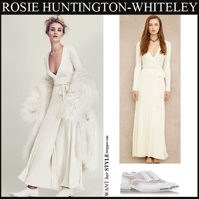 Rosie Huntington Whiteley In White Maxi Wrap Dress By Ralph Lauren With White Fur Coat