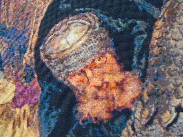 haft, krzyżykowy, obraz, bitwa