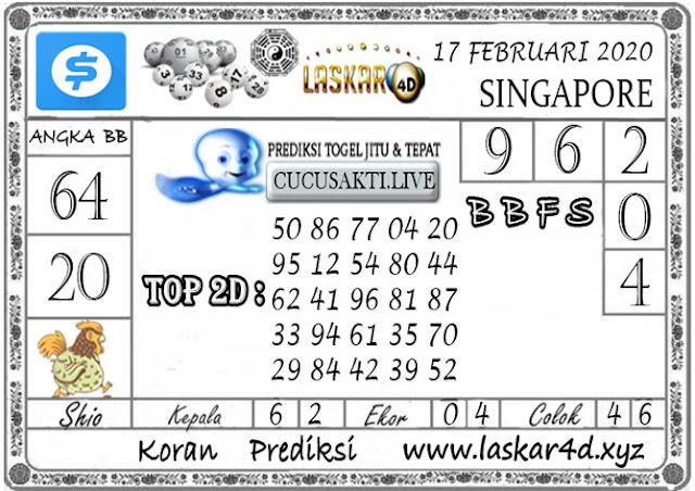 Prediksi Togel SINGAPORE LASKAR4D 17 FEBRUARI 2020