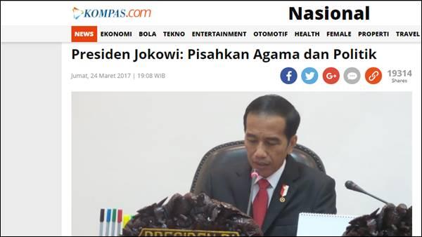 Jokowi Desak Pemisahan Agama Dengan Politik, Netizen: PKI Pun Juga Bilang Begitu!