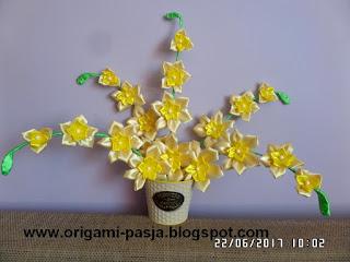 storczyk, duży, żółty, wstążka, handmade, rękodzieło, kanzashi, na urodziny, na prezent, sztuczne kwiaty,