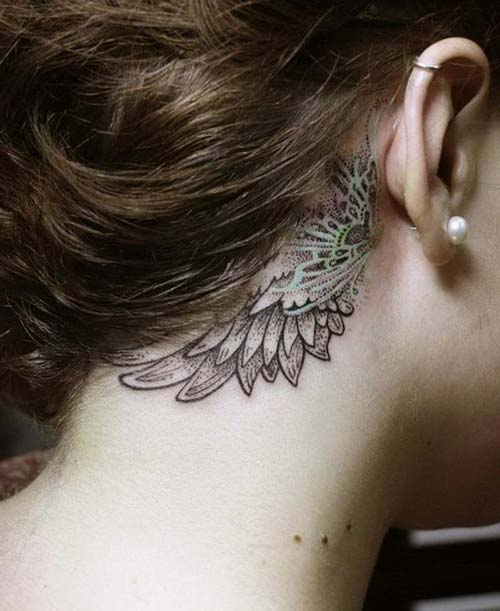 kulak arkası kanat dövmeleri behind wing ear tattoos