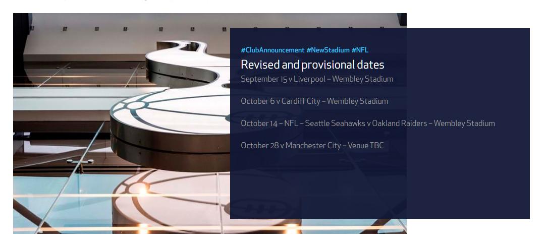 rinvio apertura nuovo stadio Tottenham