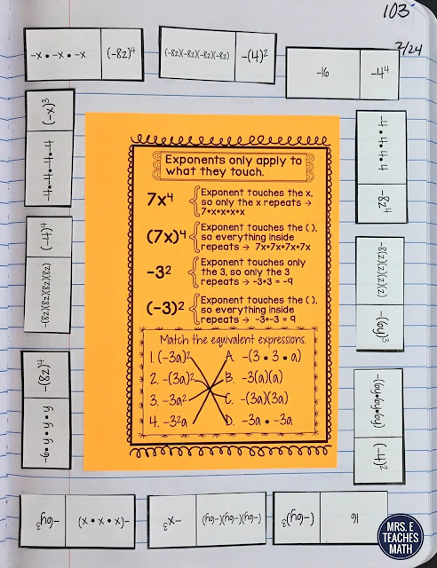 exponents activity for interactive notebooks