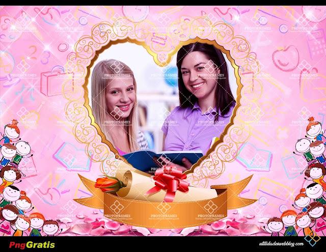Marco color rosa para decorar fotos de maestras de primaria