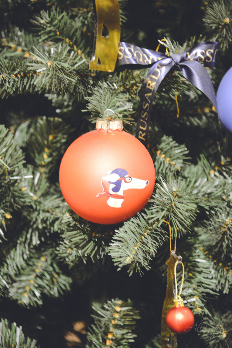 Red Christmas balls decorations on Christmas tree