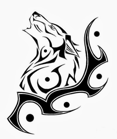 Wolf head tribal tattoo stencil