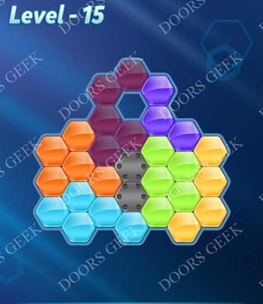 Block! Hexa Puzzle [6 Mania] Level 15 Solution, Cheats, Walkthrough for android, iphone, ipad, ipod