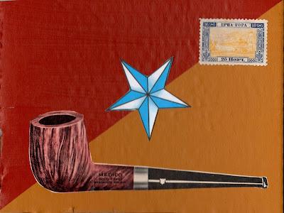 Alfred Jarry pipe star Montenegro postage stamp flag Dada Fluxus art collage