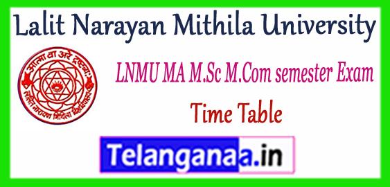 LNMU Lalit Narayan Mithila University MA M.Sc M.Com 1st 3rd semester Time Table 2017-18 Admit-card