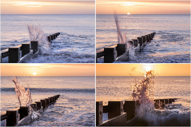 Four images of waves hitting a groyne in the warm light of sunrise at Swanage