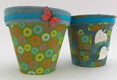 Flower pots covered with fabric