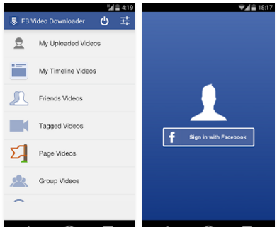 تطبيق مجانى لمشاهدة وتحميل مقاطع الفيديو على الفيس بوك للاندرويد Video Downloader for Facebook.apk