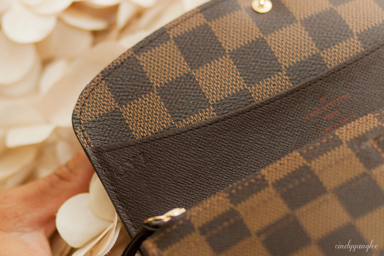 louis vuitton emilie wallet damier ebene hot stamp initials