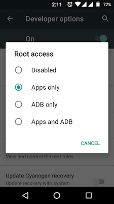 enable root access in cyanogenmod