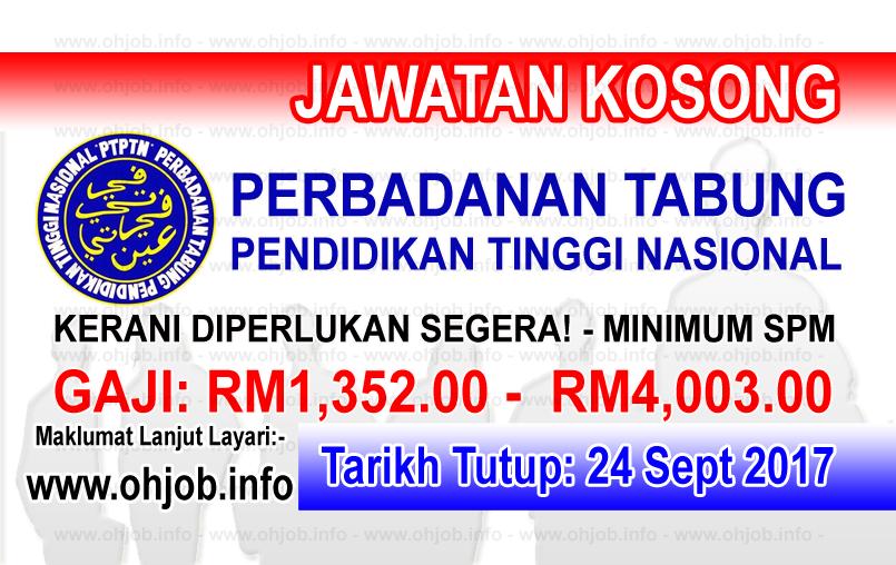 Jawatan Kerja Kosong PTPTN - Perbadanan Tabung Pendidikan Tinggi Nasional logo www.ohjob.info september 2017