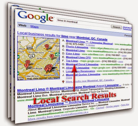 Google algorithm for local search results